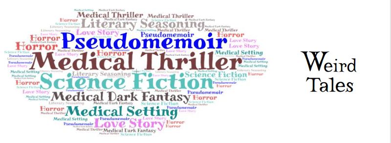 Tag cloud image, multiple fiction genres and categories